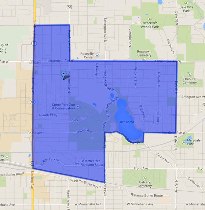 Como Park Falcon Heights Block Nurse Program Service Area Map